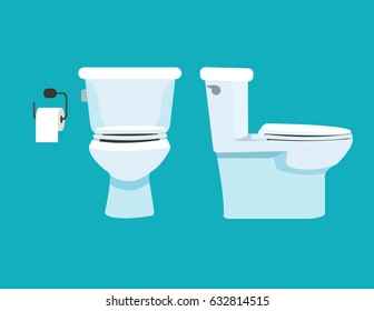 Toilet bowl, toilet paper. Vector illustration.