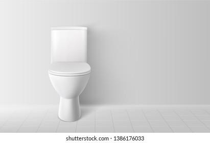 Toilet bowl. Realistic white home toilet. Vector illustration.