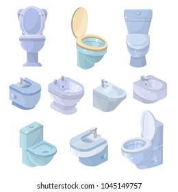 Toilet bowl and seat vector toiletries flush and bathroom ceramic equipment or sanitary toilette in wc closet illustration set of lavatory with toiletware isometric icons isolated on white background