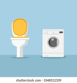 Toilet bowl, white washing machine isolated on background. Landromat icon. Bathroom interior Laungry, domestic appliance, home equipment in room. Washer and dryer. Housework concept Vector flat design