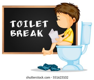 Toilet break with boy reading papers on the toilet illustration