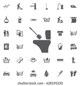 Toilet brush icon on the white background. Set of cleaning icons