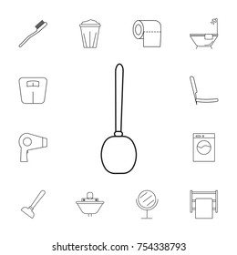 Toilet brush icon. Set of bathroom icons. Signs, outline symbols collection, simple thin line icons for websites, web design, mobile app, info graphics on white background