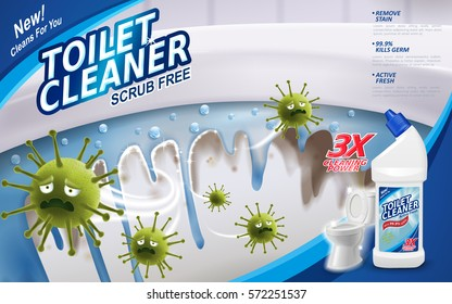 Toilet cleaner ads, green virus escaping from shining toilet with blue flush detergent in bottle in 3d illustration