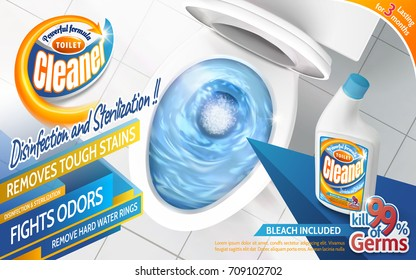 Toilet cleaner ads, powerful detergent product with top view toilet bowl and blue flushing liquid in 3d illustration
