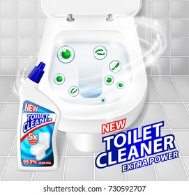 Toilet cleaner gel banner ads. Realistic clean shiny toilet bowl top view with disinfectant container. Vector Illustration