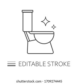 Toilet cleaning icon. Line illustration. Bathroom cleaning. stroke symbol. Vector isolated outline drawing. Editable stroke