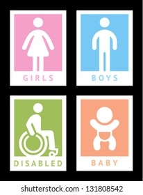 Toilet colored stickers, vector illustration