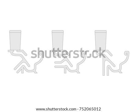 Toilet Cutaway Blueprint Vector Illustration Set Stock Vector