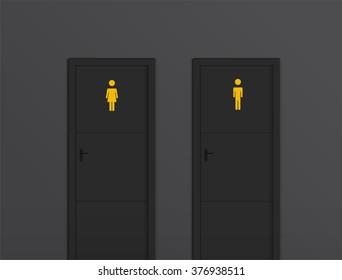 toilet doors black for male and female genders vector
