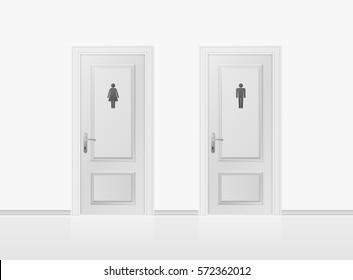 Toilet doors for male and female genders. Realistic WC door. Vector illustration.