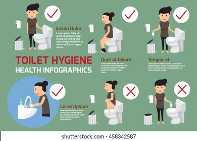 Toilet Hygiene infographic. Note the use of the bathroom. good and bad practice in use toilet. vector illustration.