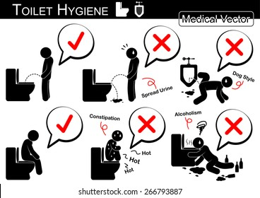 Toilet Hygiene ( Stick man vector ) infographic