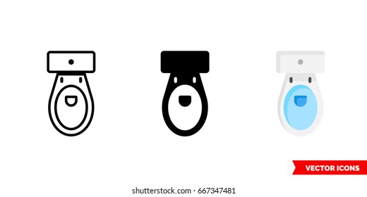 Toilet icon of 3 types: color, black and white, outline. Isolated vector sign symbol.