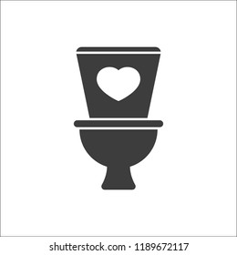 Toilet icon, Bathroom, restroom icon with heart sign. Toilet icon and favorite, like, love, care symbol. Vector