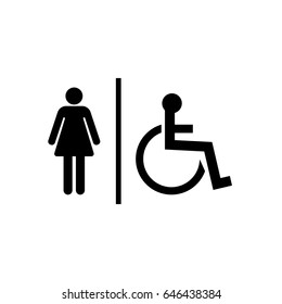 Vector Mens Womens Disabled Restroom Signage Stock Vector Royalty