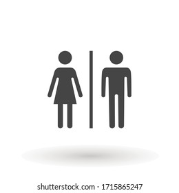 toilet icon or logo WC symbols, toilet sign Bathroom Male and female Gender icon Funny wc door plate symbol isolated sign vector illustration