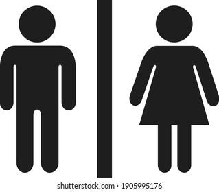 Toilet icon, man and woman.