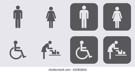 Toilet icon set . People icon . Vector illustration
