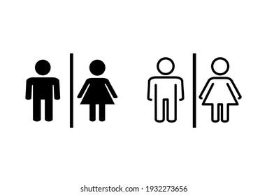 Toilet icon set. restrooms icon vector. bathroom sign. wc, lavatory