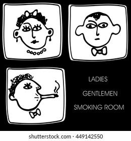 Toilet icon set. Smoking room icon. Vector illustration. Hand drawn. Black on white background