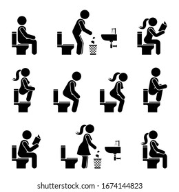 Toilet icon stick figure man and woman symbol silhouette pictogram vector illustration set. Sitting, peeing, reading, throwing paper to trash bin signs on white