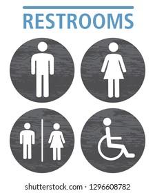 toilet icon symbol grey wood plank texture