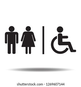 Toilet icon vector or restroom sign with handicapped,wheel chair,women and men label flat symbols logo illustration isolated on white background black color.