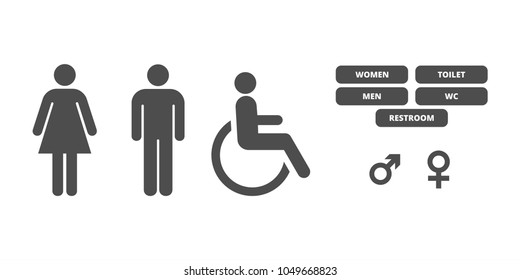 toilet icons on white background