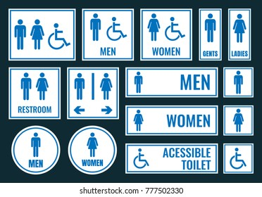 toilet icons and restroom signs