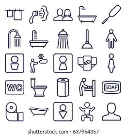 Toilet icons set. set of 25 toilet outline icons such as man wc, woman wc, baby changing room, baby, shower, diaper, woman, man, man and woman, soap, plunger, toilet