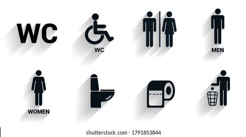 Toilet icons set in with shadow., Toilet signs, Restroom icons. Bathroom WC signs. Flat design. Vector illustration