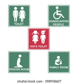 Toilet, kid's toilet, handicapped people, pray room and family room on pink & green background. Vector illustration.