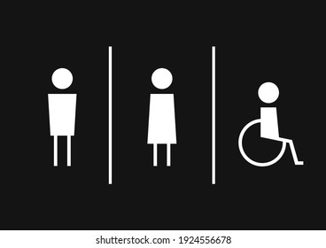 Toilet label. sign. Toilet symbol vector. Disabled toilet. Disabled sign.