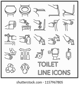 Toilet line icons graphic design for pattern and media decorations, WC, Lavatory, Restroom line icons.