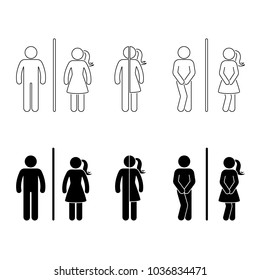 Toilet male and female icon. Stick figure vector funny wc, restroom set on white