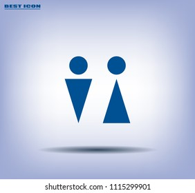 Toilet is male, female. Vector icon.