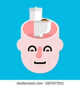Toilet in open head. Shit in brains. Stupid man