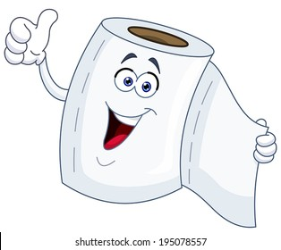 Toilet Paper Cartoon Showing Thumb Up