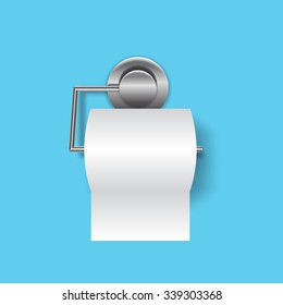 Toilet paper flat icon with holder realistic vector