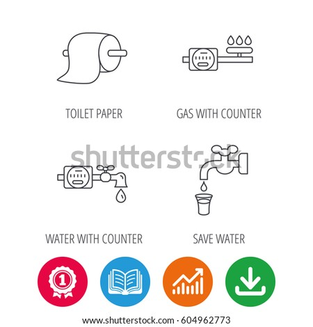 Toilet Paper Gas Water Counter Icons Stock Vector Royalty Free