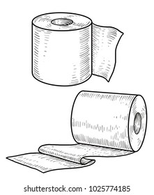 Toilet paper illustration, drawing, engraving, ink, line art, vector