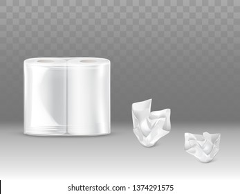 Toilet paper, kitchen paper towels pack 3d realistic vector mockup with two paper rolls sealed in plastic or polyethylene, crumpled, used napkins 3d realistic vector isolated on transparent background