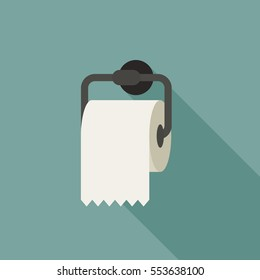 Toilet paper with long shadow in flat style.