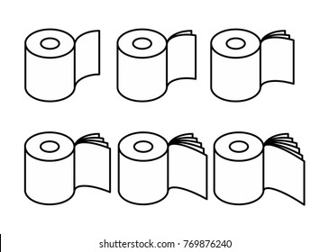 Toilet paper rol set icon. collection Symbol for packing. Vector illustration