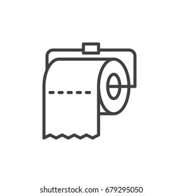 Toilet paper roll line icon, outline vector sign, linear style pictogram isolated on white. Symbol, logo illustration. Editable stroke. Pixel perfect graphics