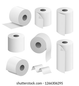 Toilet paper roll tissue. Toilet towel icon isolated realistic illustration. Kitchen wc whute tape paper.
