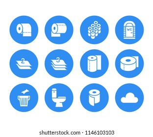 Toilet paper roll, towel flat glyph icons. Hygiene illustrations, mobile wc, restroom, tree layered napkin. Signs for household goods store. Solid silhouette pixel perfect 64x64.