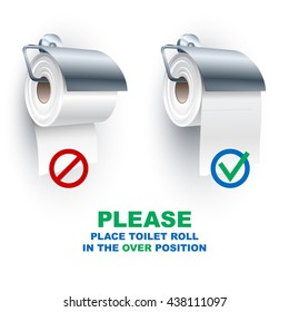 Toilet paper roll in the under and over position onto the holder; Rule for the correct placement of toiletries; Vector Eps10