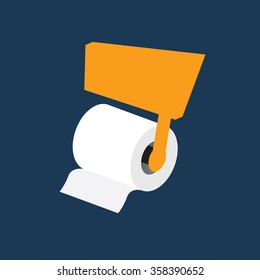 toilet paper roll vector on blue